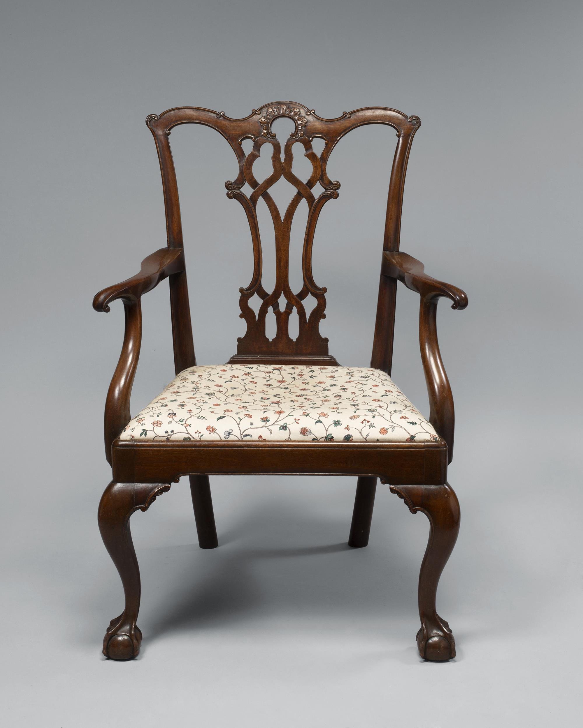 Rare Chippendale Mahogany Open Arm Chair Made and Stamped by Cabinet Maker, William Long