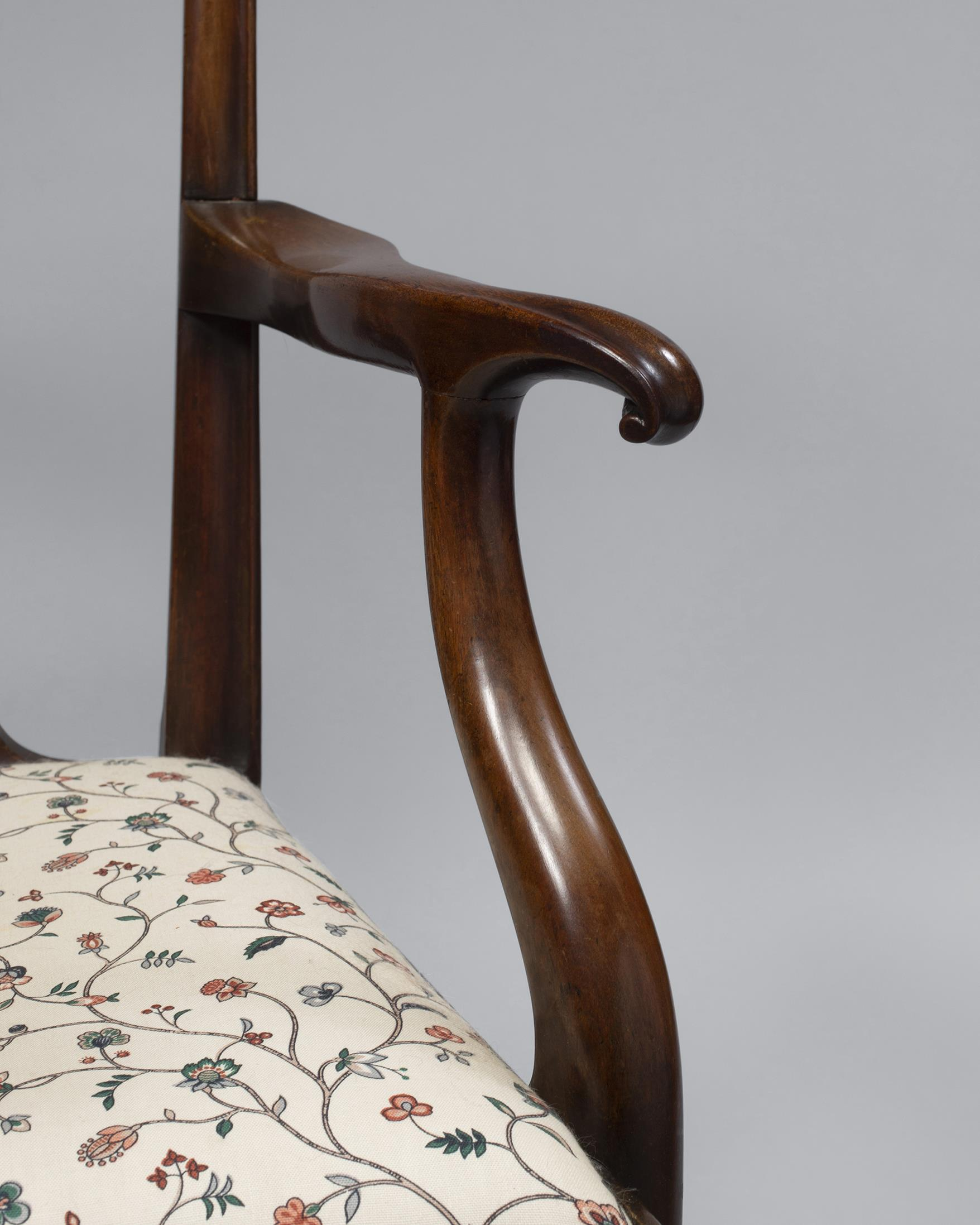 Rare Chippendale Mahogany Open Arm Chair Made and Stamped by Cabinet Maker, William Long Close-up