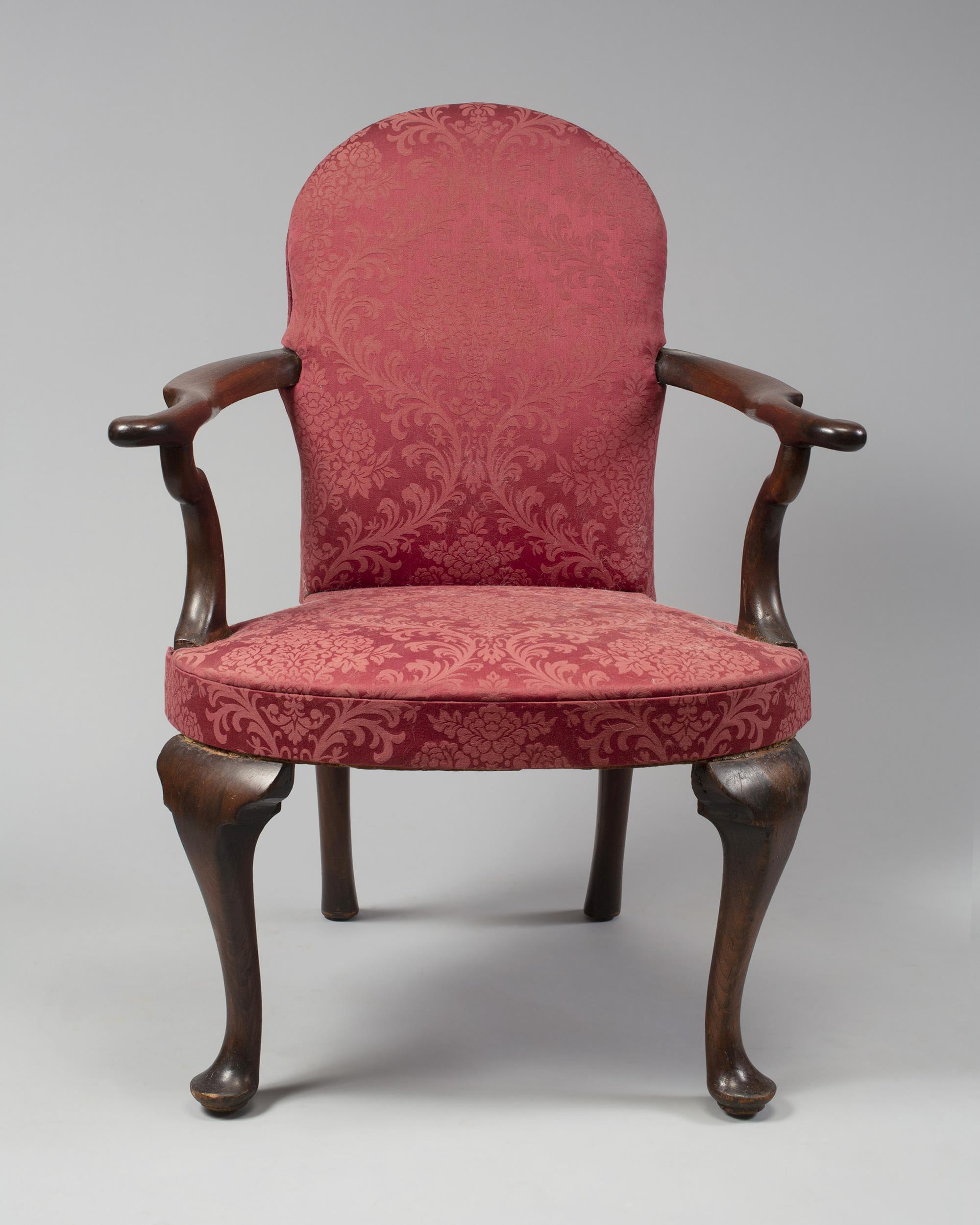 Rare and Important Queen Anne Upholstered Open Arm Chair