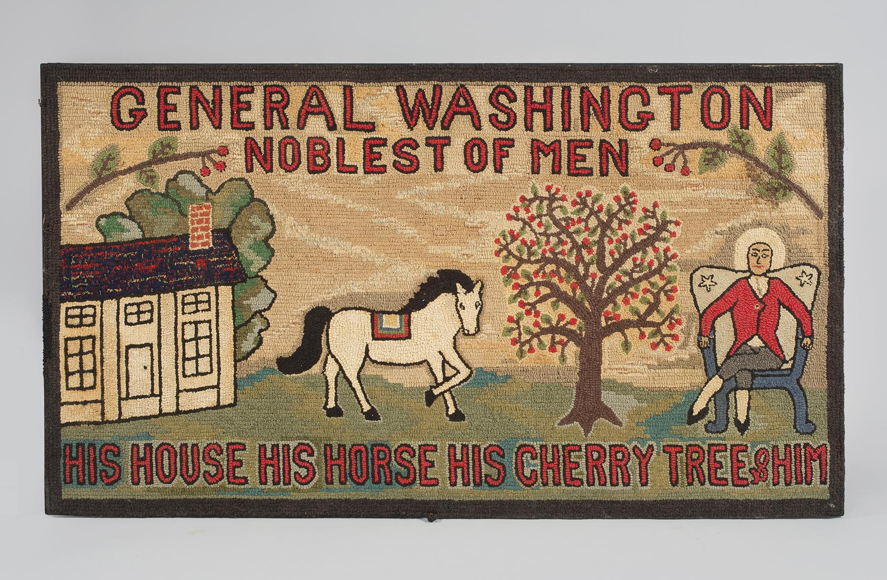 Wool Pictorial Hooked Rug Depicting George Washington