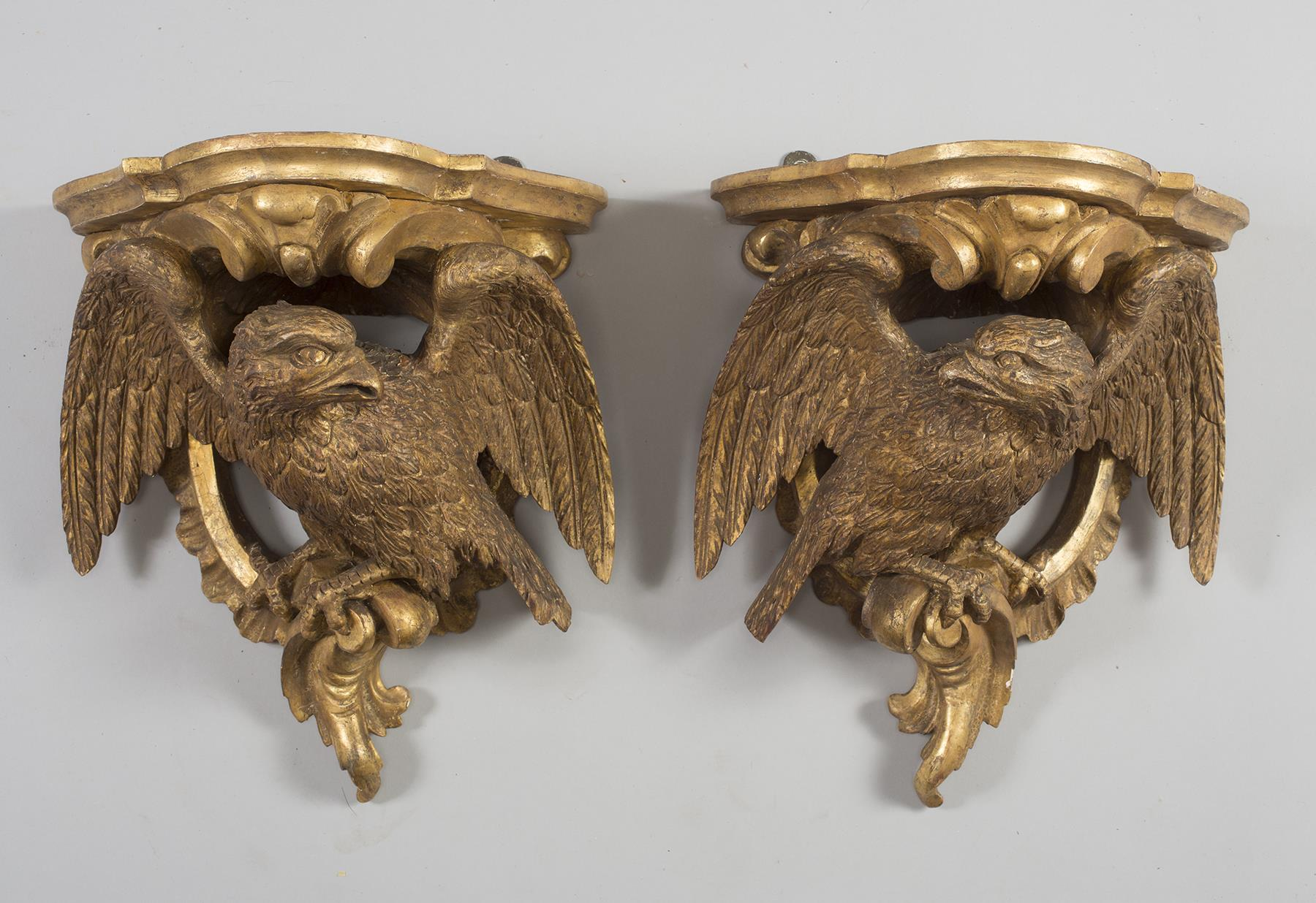 A Pair of Classical Gilt & Gessoed White Pine Eagle Wall Brackets