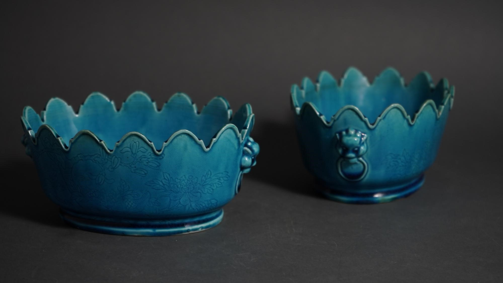 Pair Of Chinese Turquoise Blue Glazed Oval Porcelain Monteiths With Incised Bird And Floral Motifs Qianlong Period (1736-1795