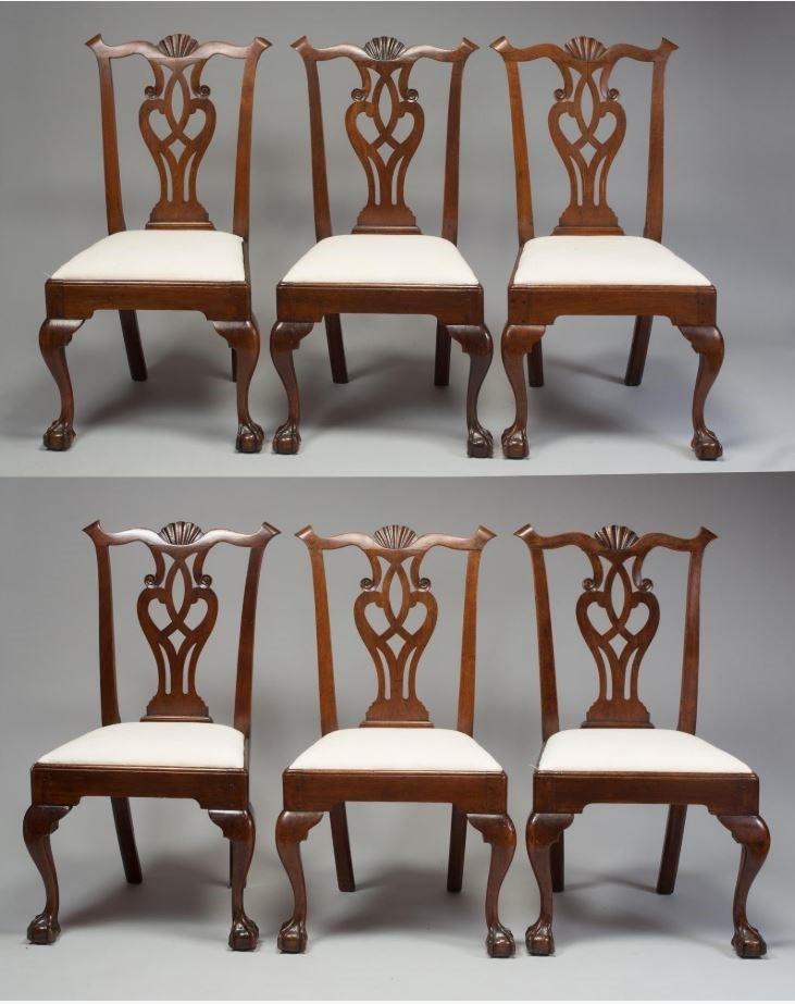 RARE SET OF SIX CHIPPENDALE WALNUT SHELL-CARVED SIDE CHAIRS