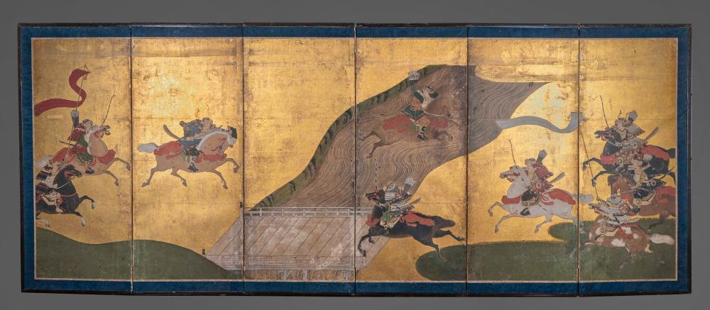 Japanese Six Panel Screen Depicting a Battle Sold $18,750